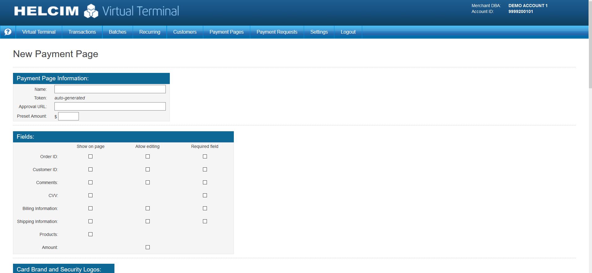 Helcim Commerce Demo - Virtual Terminal Payment Settings