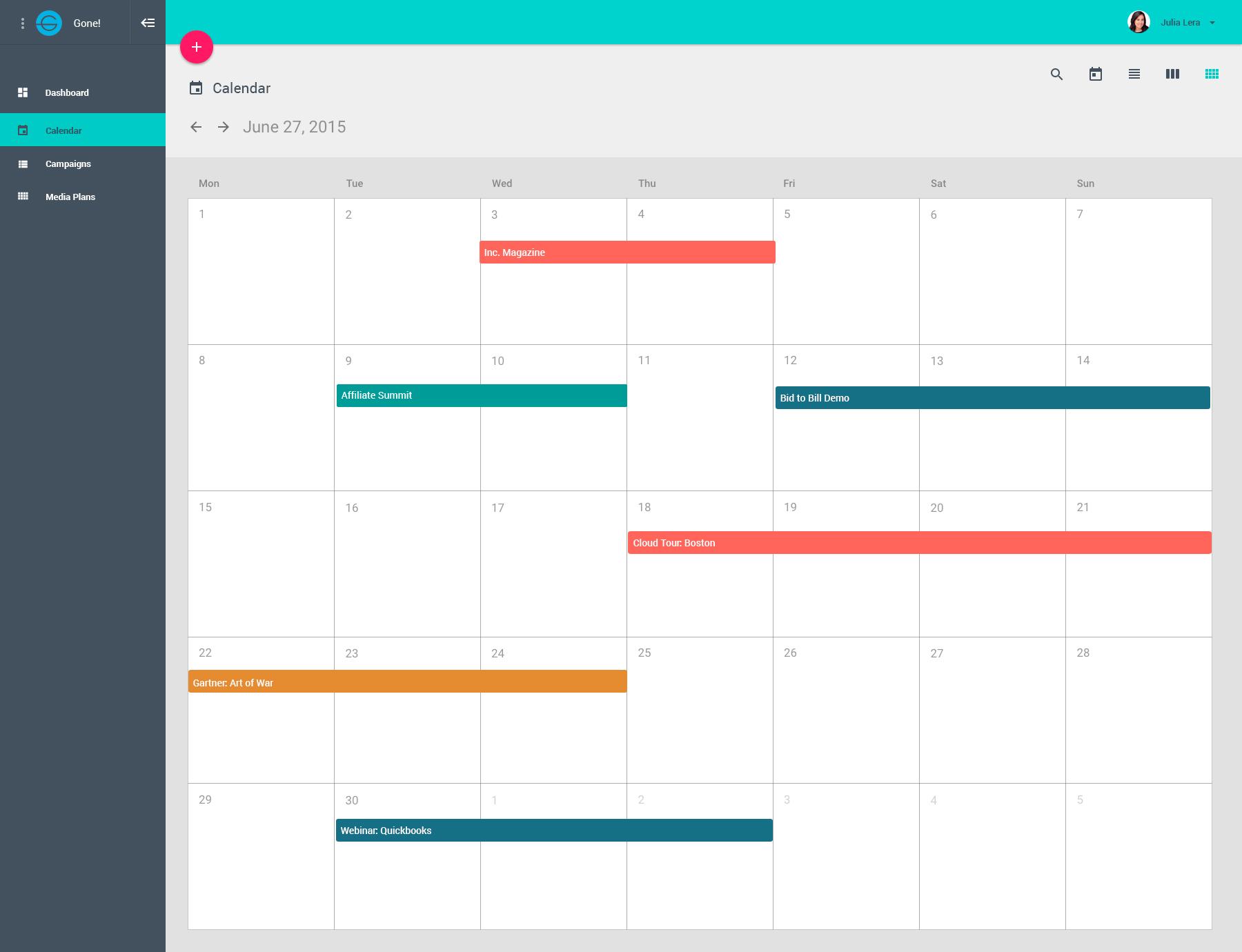 TidyMktr Demo - Campaign Calendar