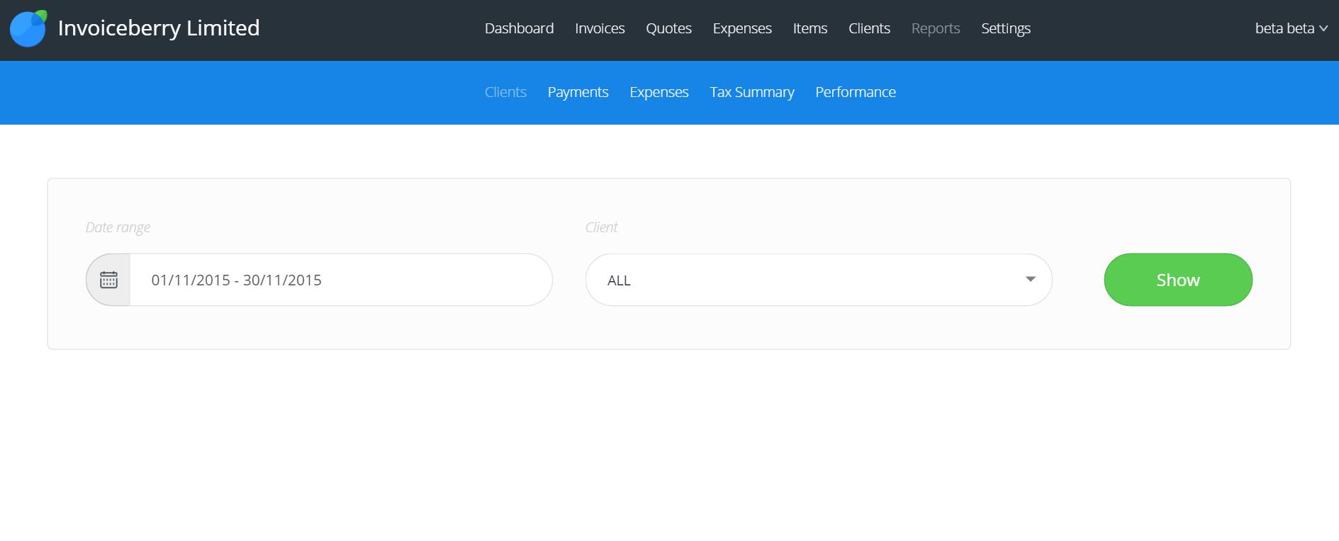 InvoiceBerry Demo - Reports