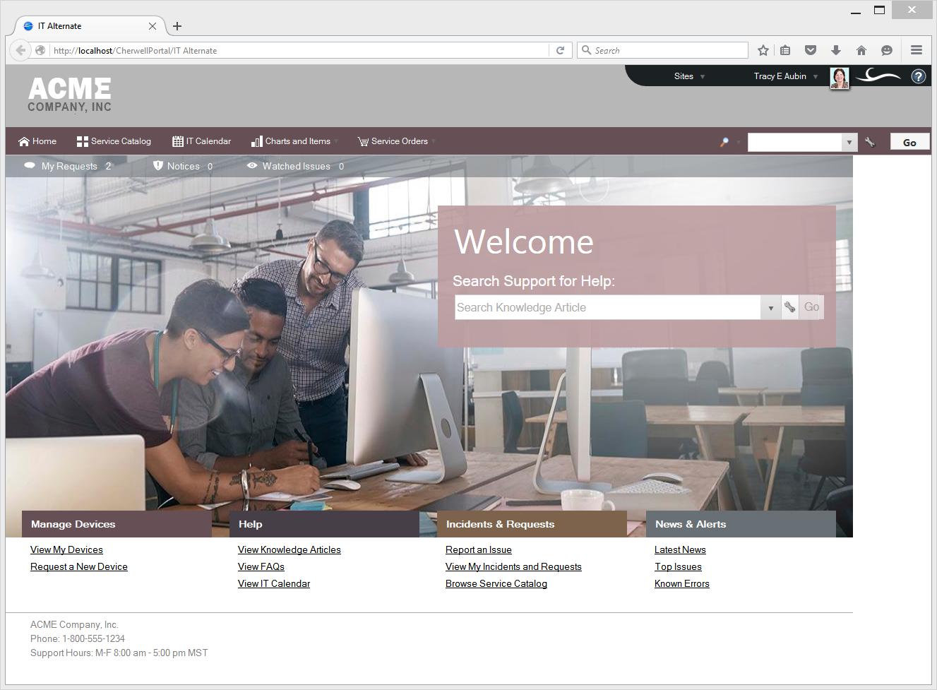 Cherwell Service Management Demo - Self-Service Portal