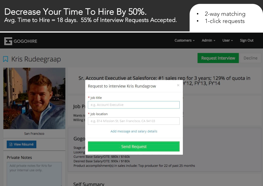 Gogohire Demo - Candidate interview requests