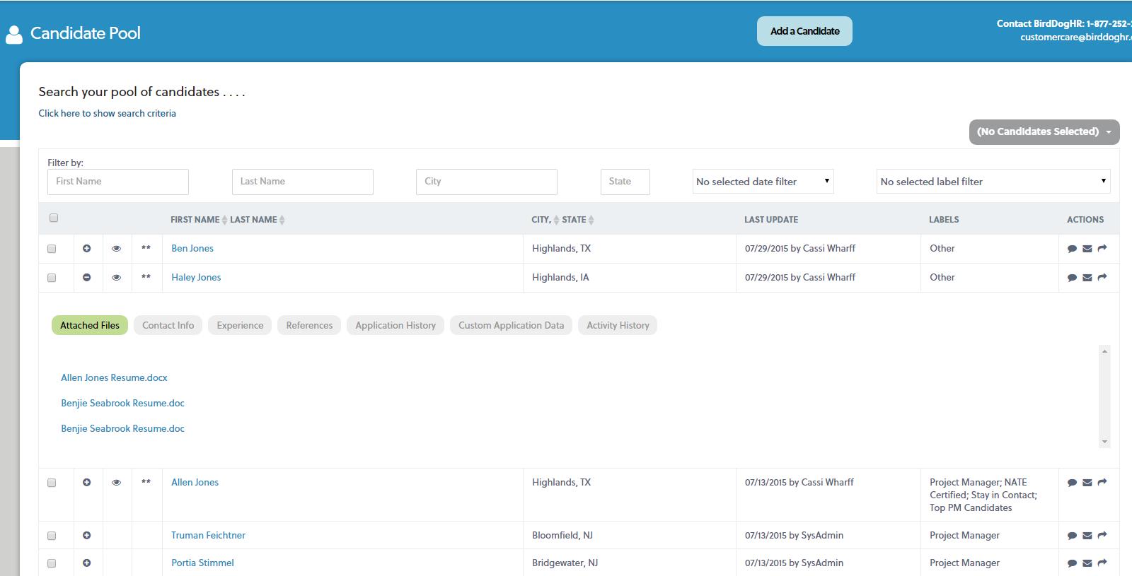 BirdDogHR Demo - birdDogHR ATS Searchable Candidate Database
