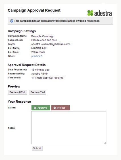 Adestra Demo - Campaign Approval Form
