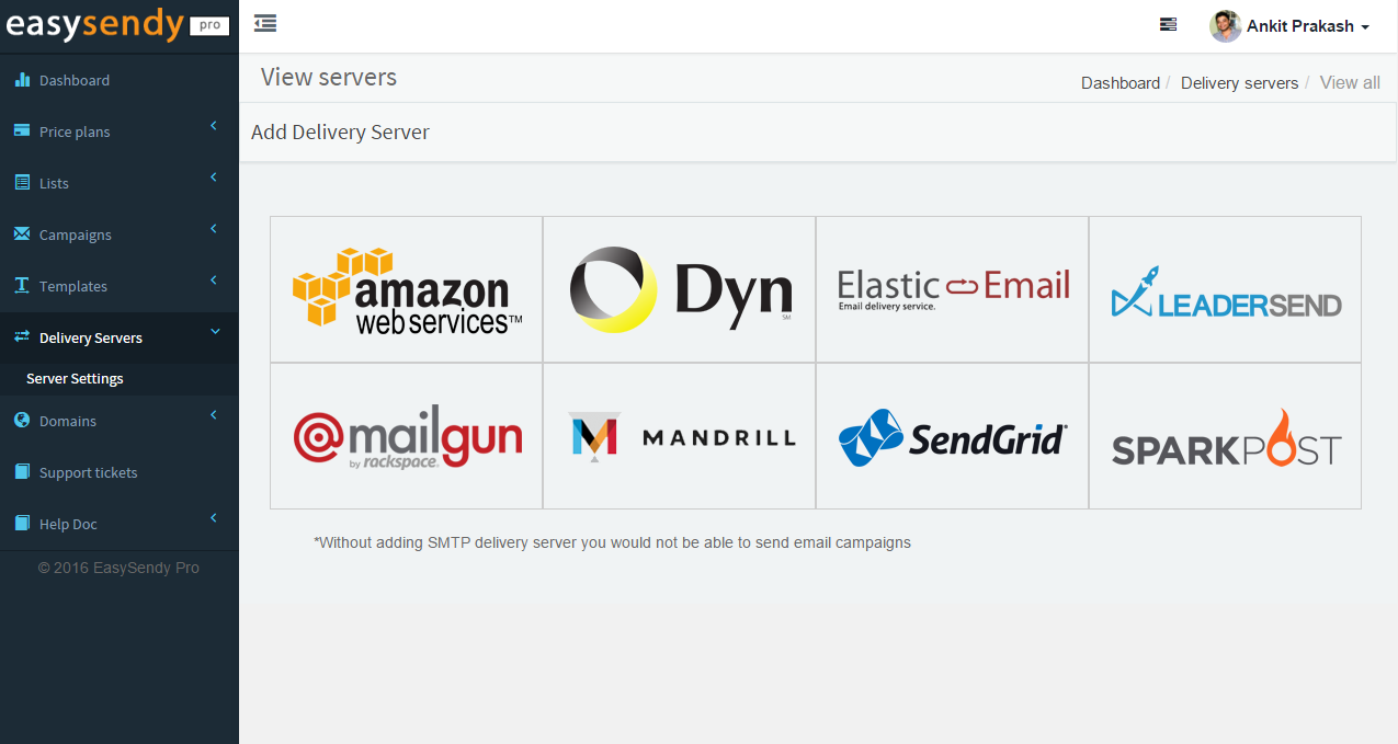 EasySendy Pro Demo - Add Multiple Email Delivery Server