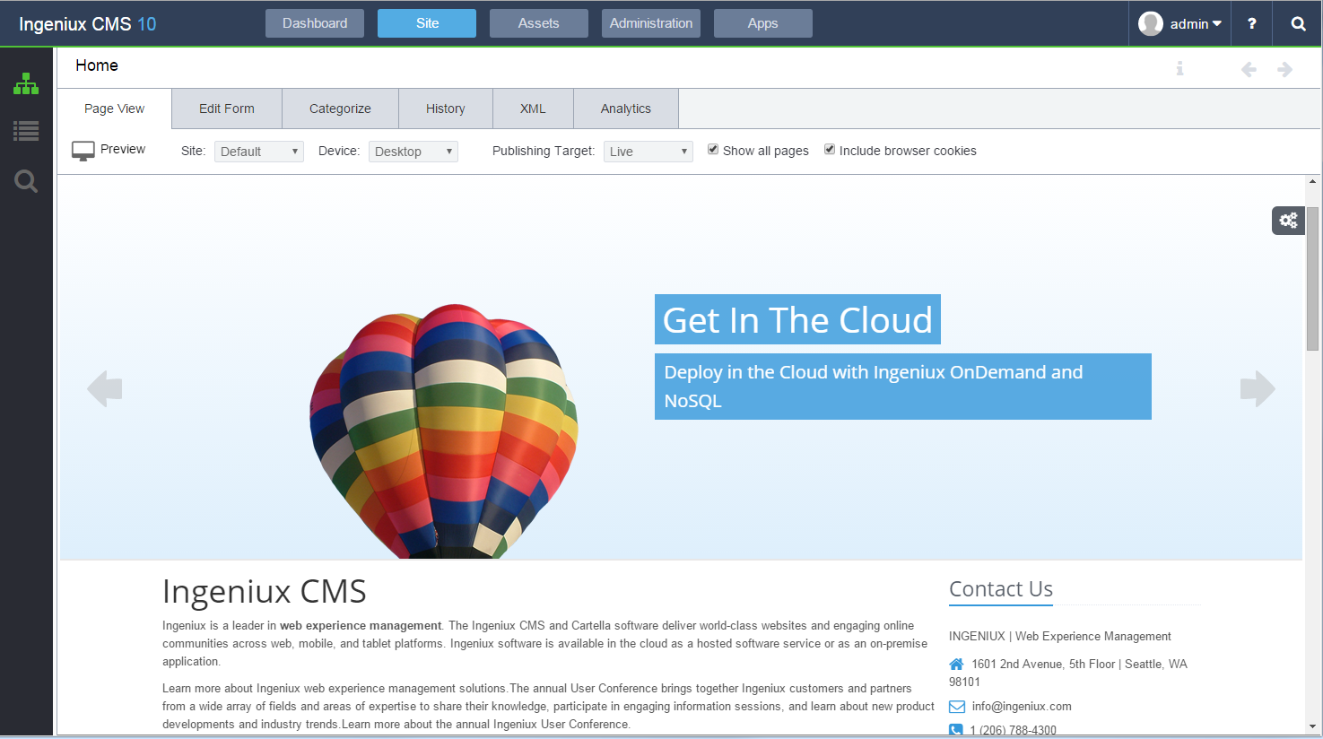 Ingeniux CMS Demo - Ingeniux Page Preview