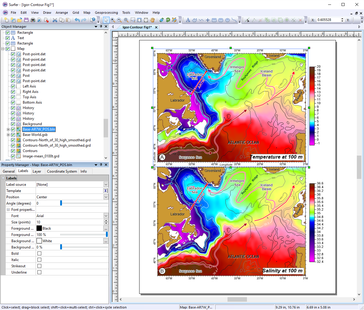Surfer Demo - Surfer® Temperature and Salinity Contour Map of the Atlantic Ocean