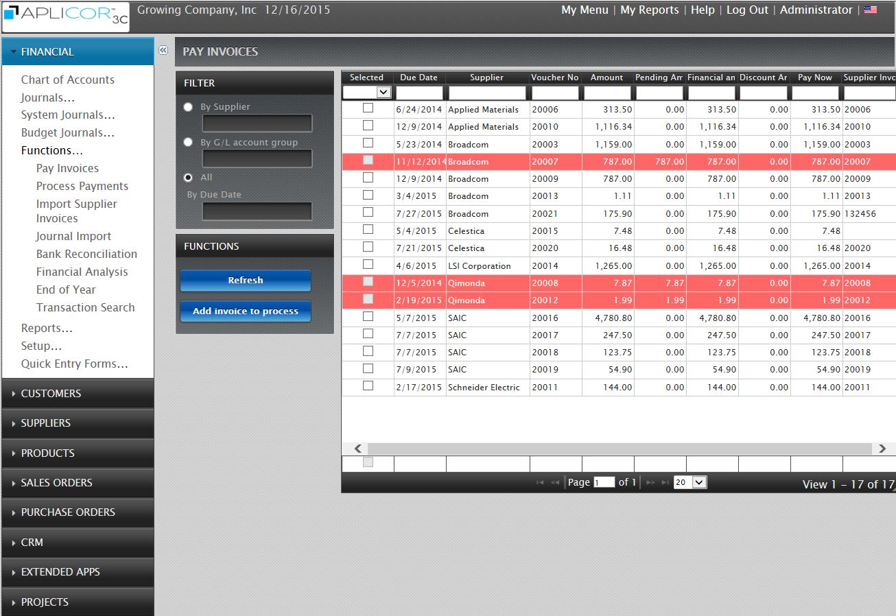 Aplicor 3C Demo - Pay Supplier Invoices