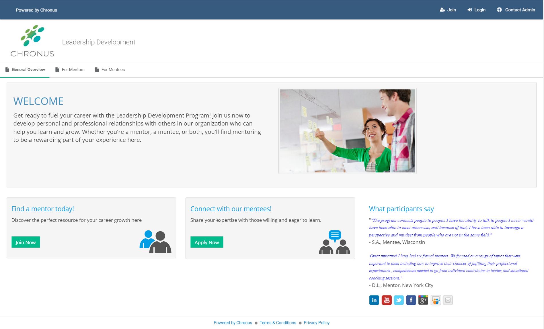 Chronus Demo - Customer Homepage
