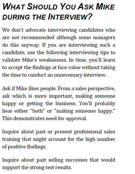 Sales Candidate Assessment Demo - Recommended Interview Questions