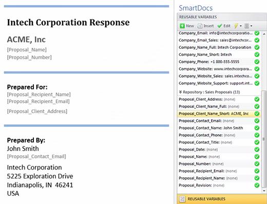 SmartDocs Demo - Reusable Variables