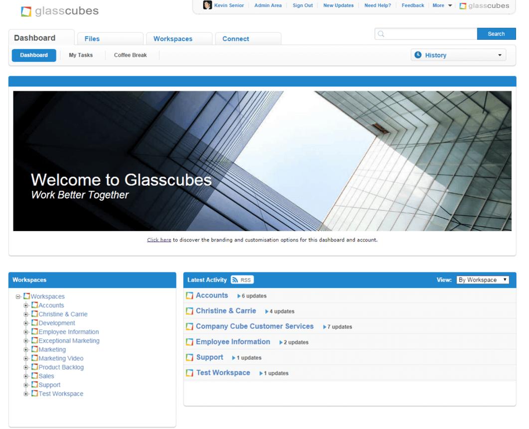 Glasscubes Demo - Dashboard