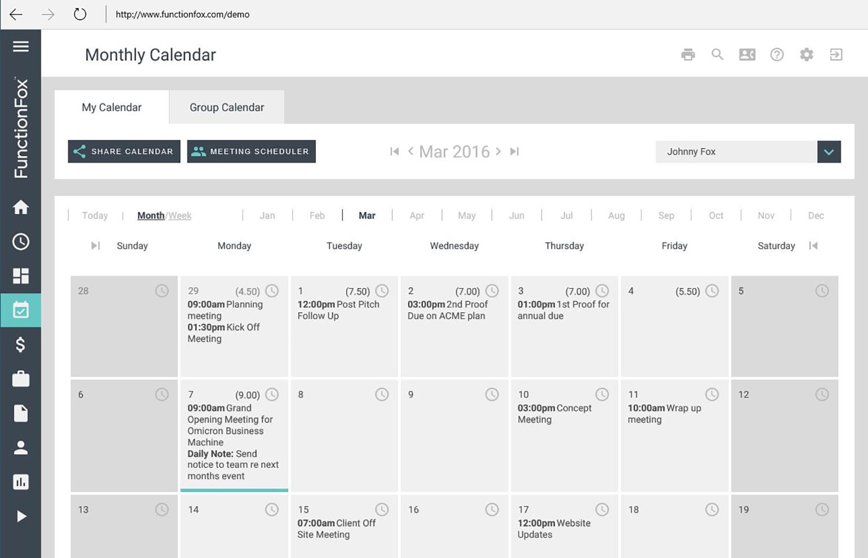 FunctionFox Demo - Calendar