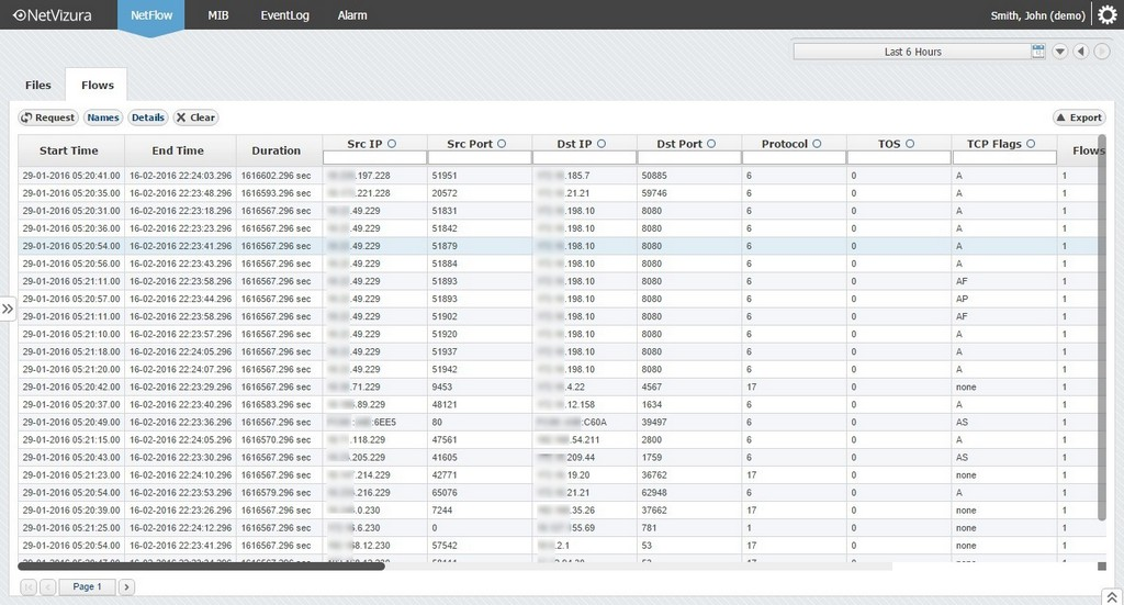 NetFlow Analyzer Demo - netvizura-netflow-flow-records-raw-data.jpg