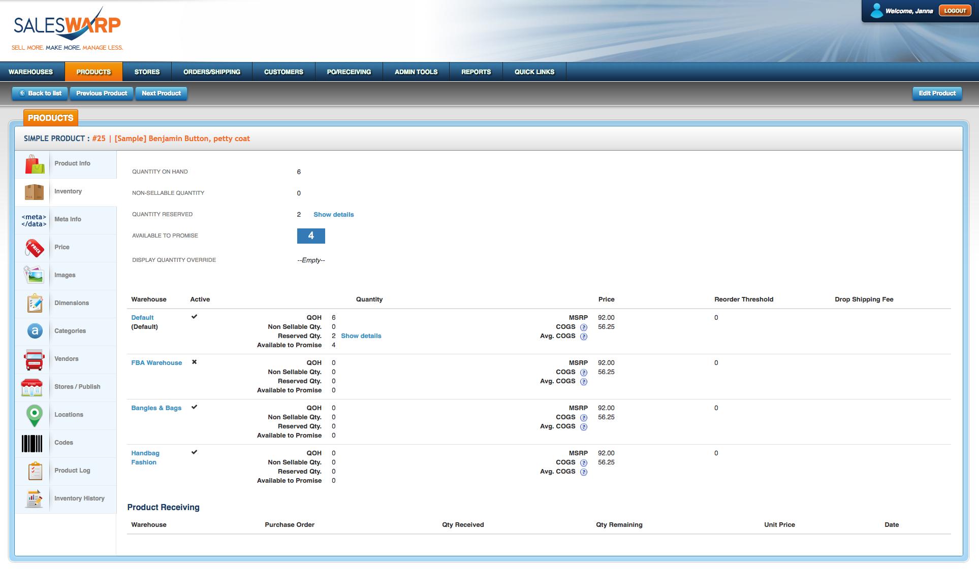 SalesWarp Demo - Inventory