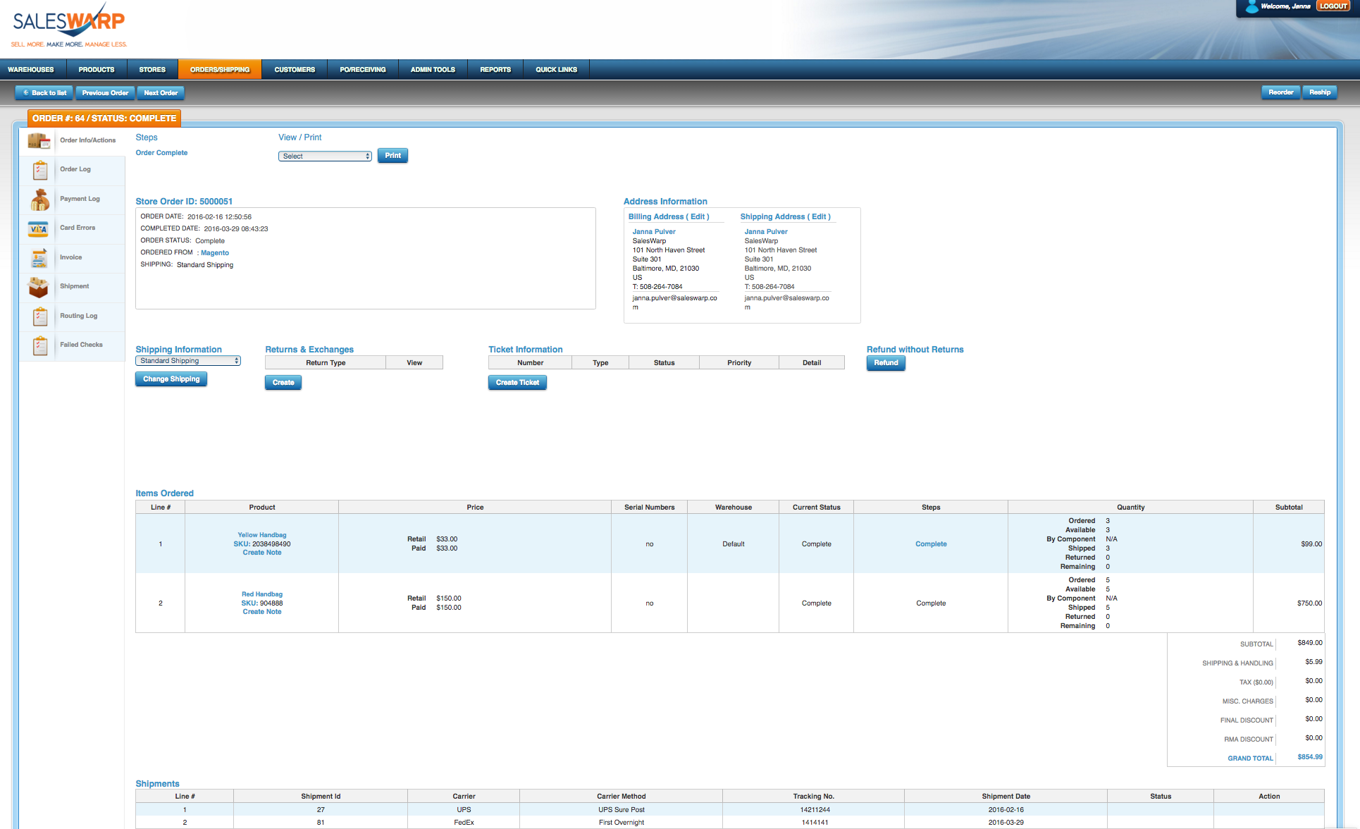 SalesWarp Demo - Order Detail