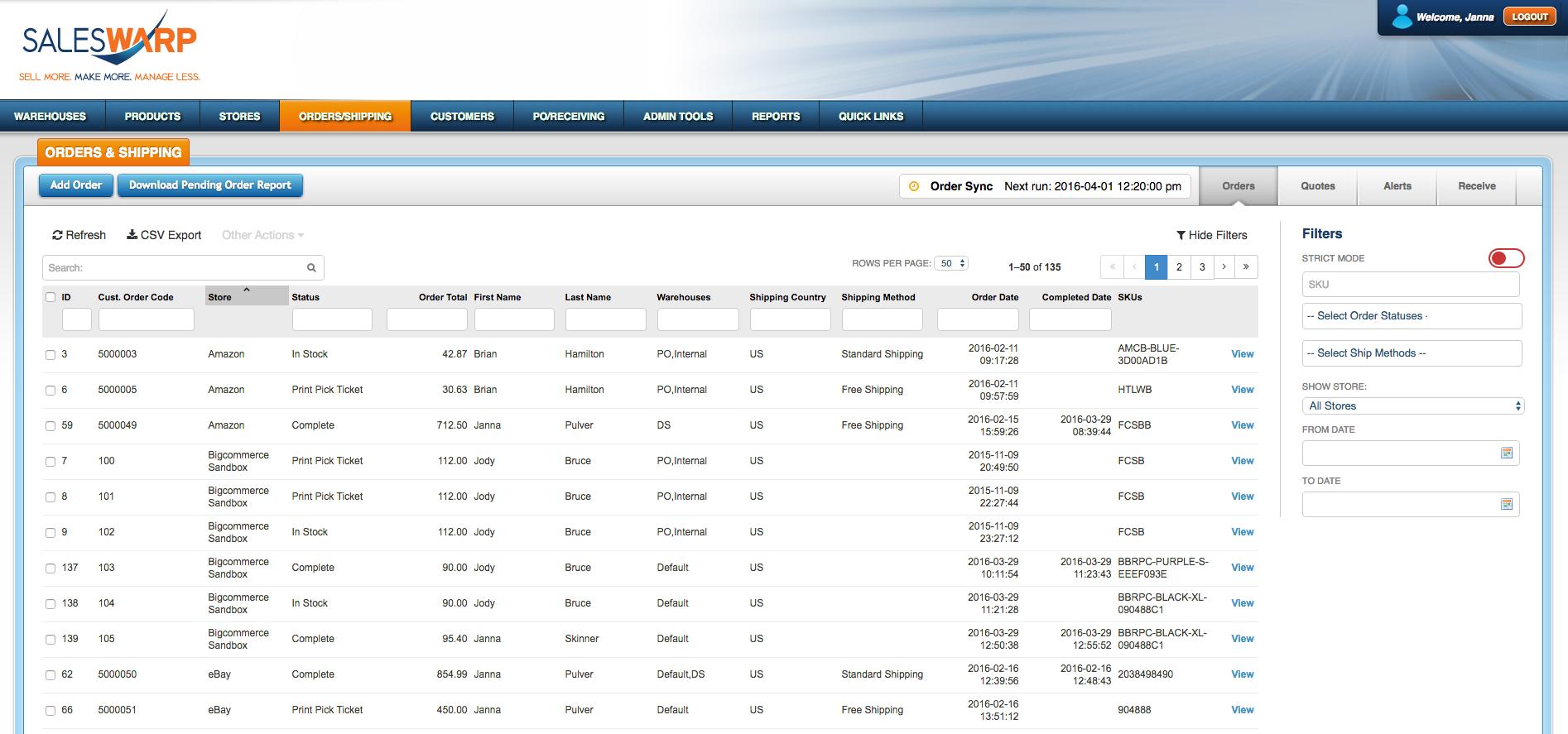SalesWarp Demo - Orders