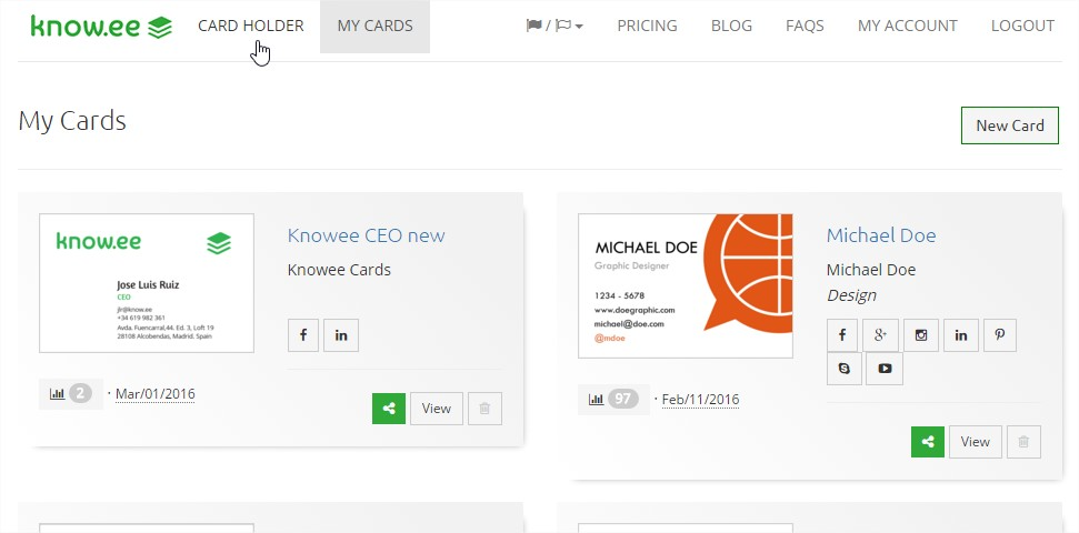 Knowee Demo - Your cards and Your Card Holder sections.