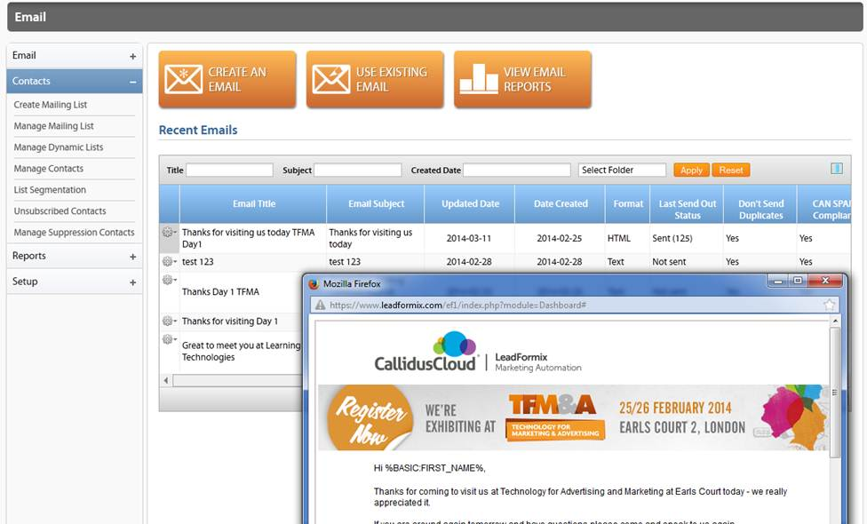 CallidusCloud Marketing Automation Demo - Email