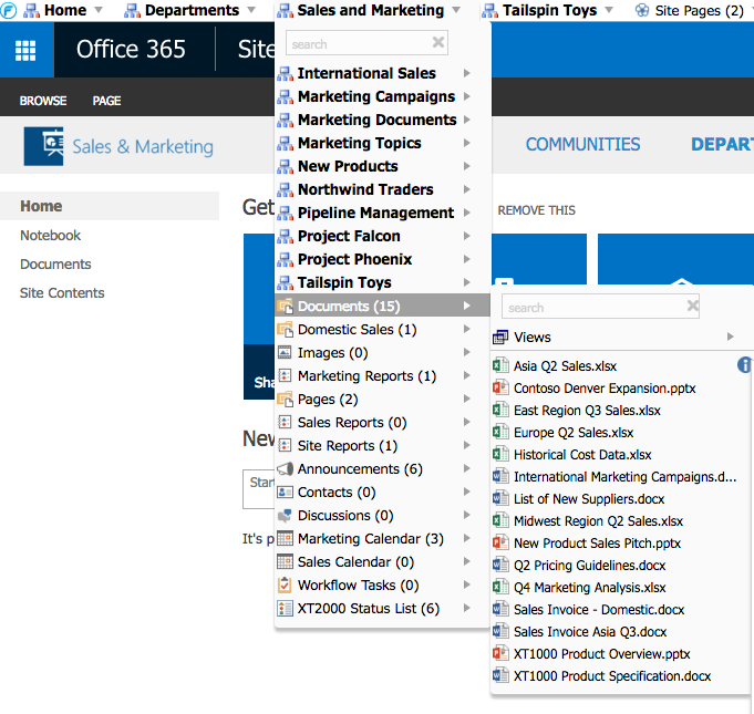 FlyView For SharePoint Demo - Multilevel dynamic menu with Interactive Breadcrumb