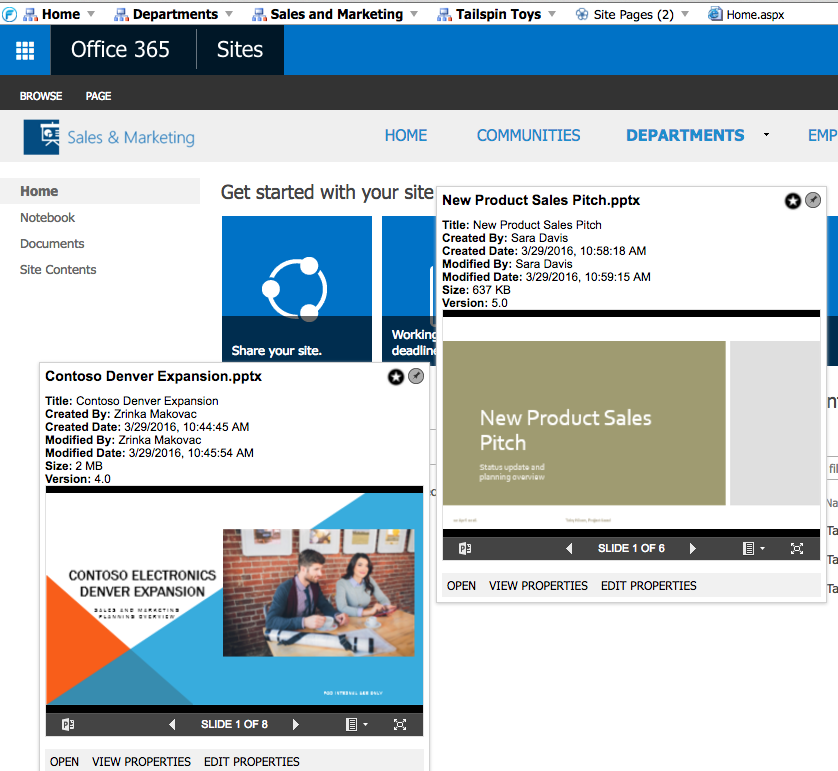 FlyView For SharePoint Demo - Preview Windows