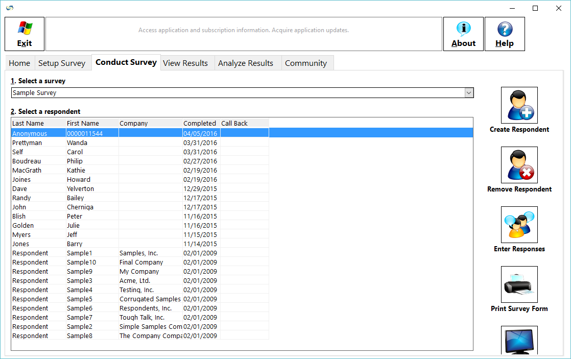 SurveyGold Demo - The Conduct Survey tab provides the ability to maintain respondents.