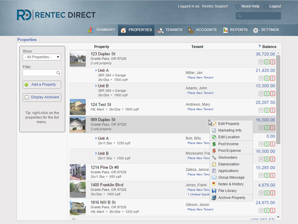 Rentec Direct Demo - Managing Properties in Rentec Direct