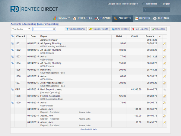 Rentec Direct Demo - Account Ledgers