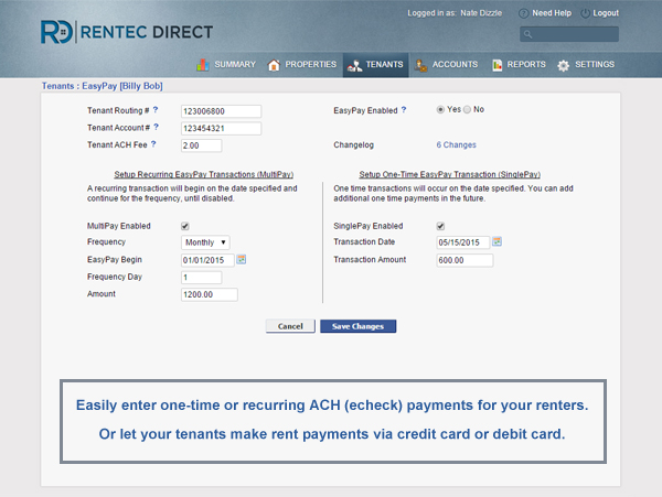 Rentec Direct Demo - Automated ACH
