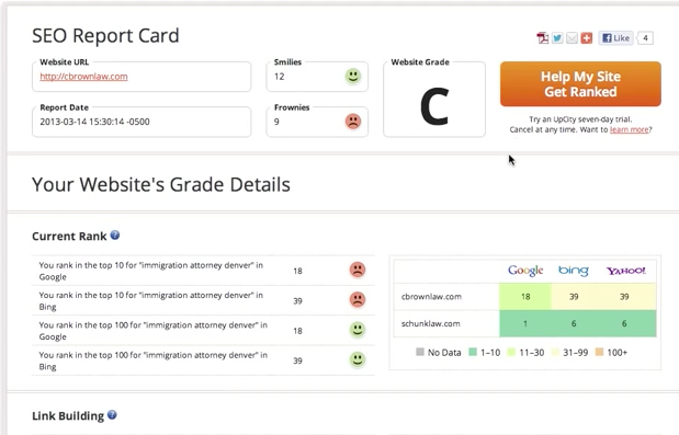 UpCity Demo - Get Your SEO Report Card For Free
