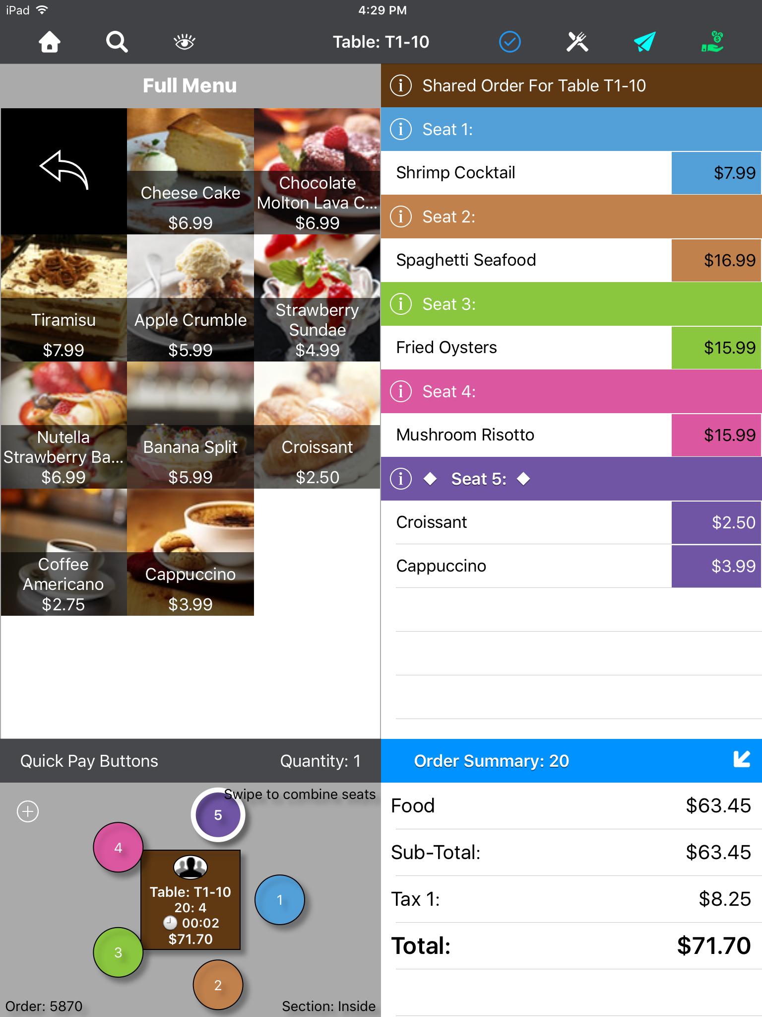 TouchBistro Restaurant POS Demo - Bill Splitting