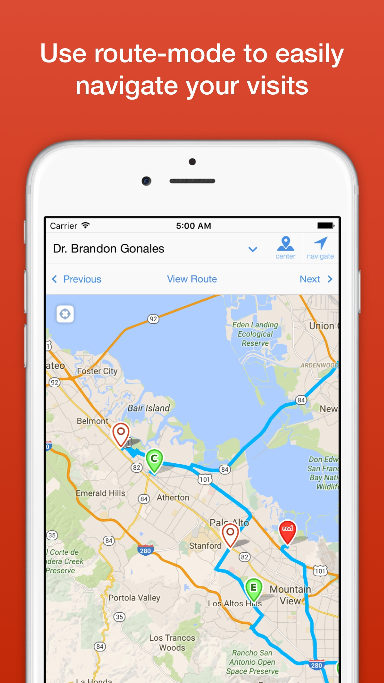 Badger Maps Demo - Use route mode to easily schedule your customer visits