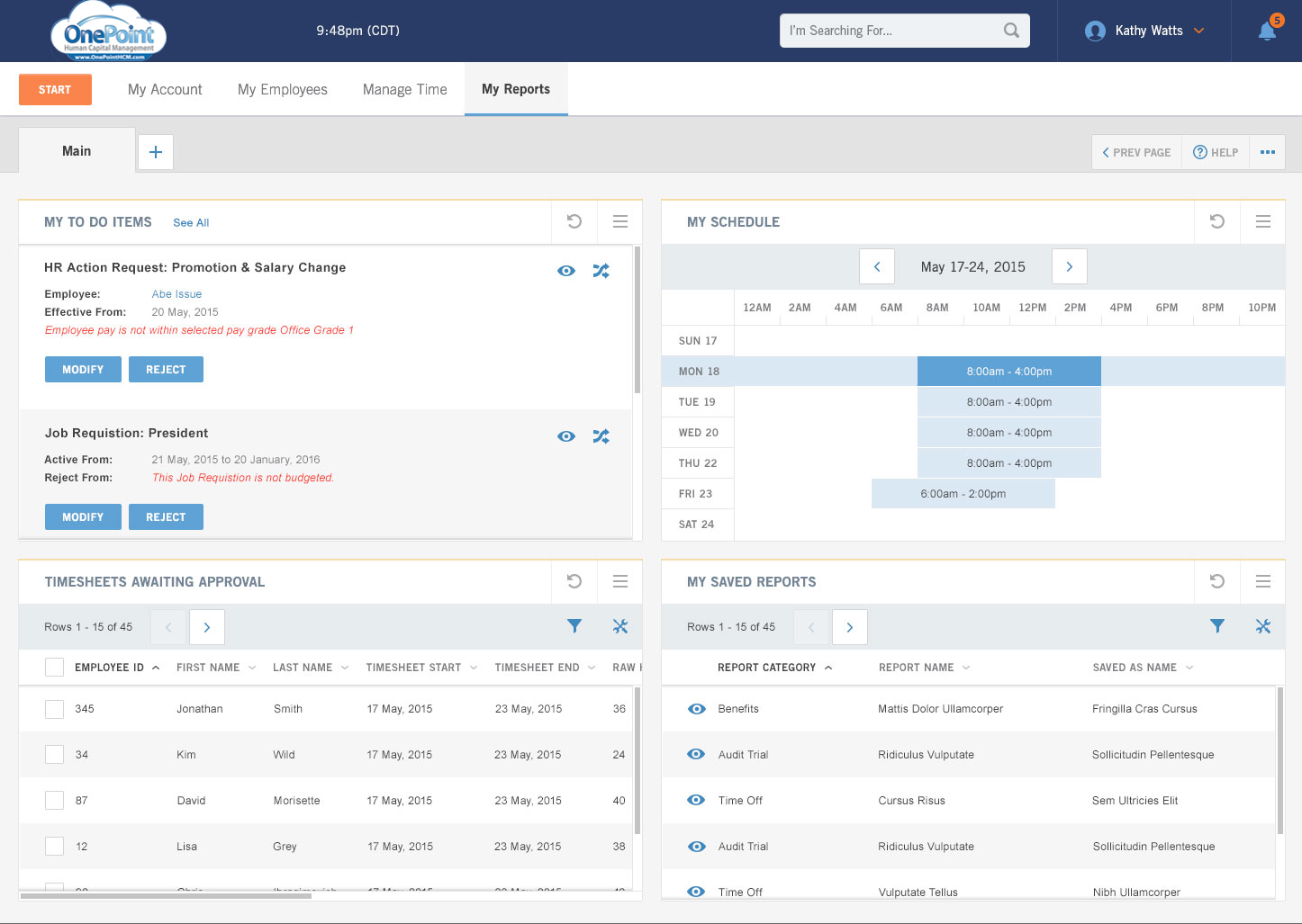 OnePoint HCM Demo - OnePoint HR Administrator Dashboard