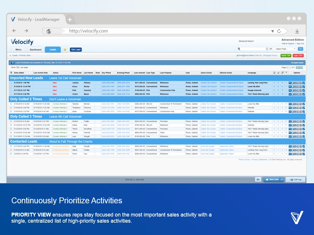 Velocify Lead Manager Demo - Continuously Prioritize Activities