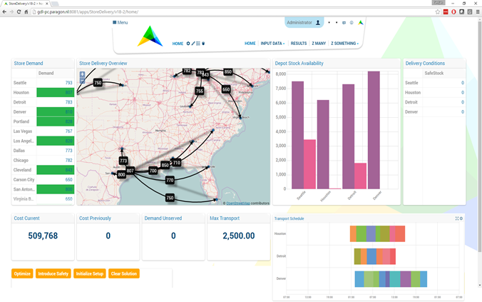 AIMMS Prescriptive Analytics Platform Demo - Network Design and Optimization