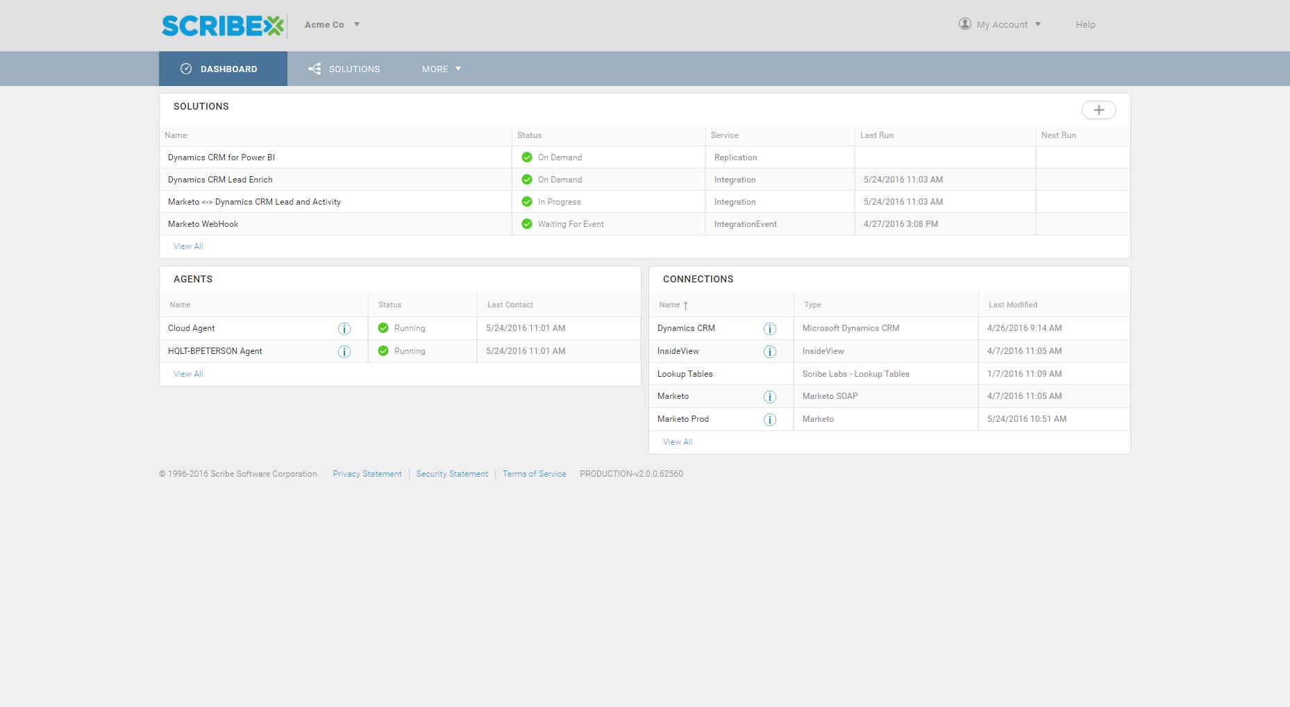 Scribe Online Demo - Integration Dashboard