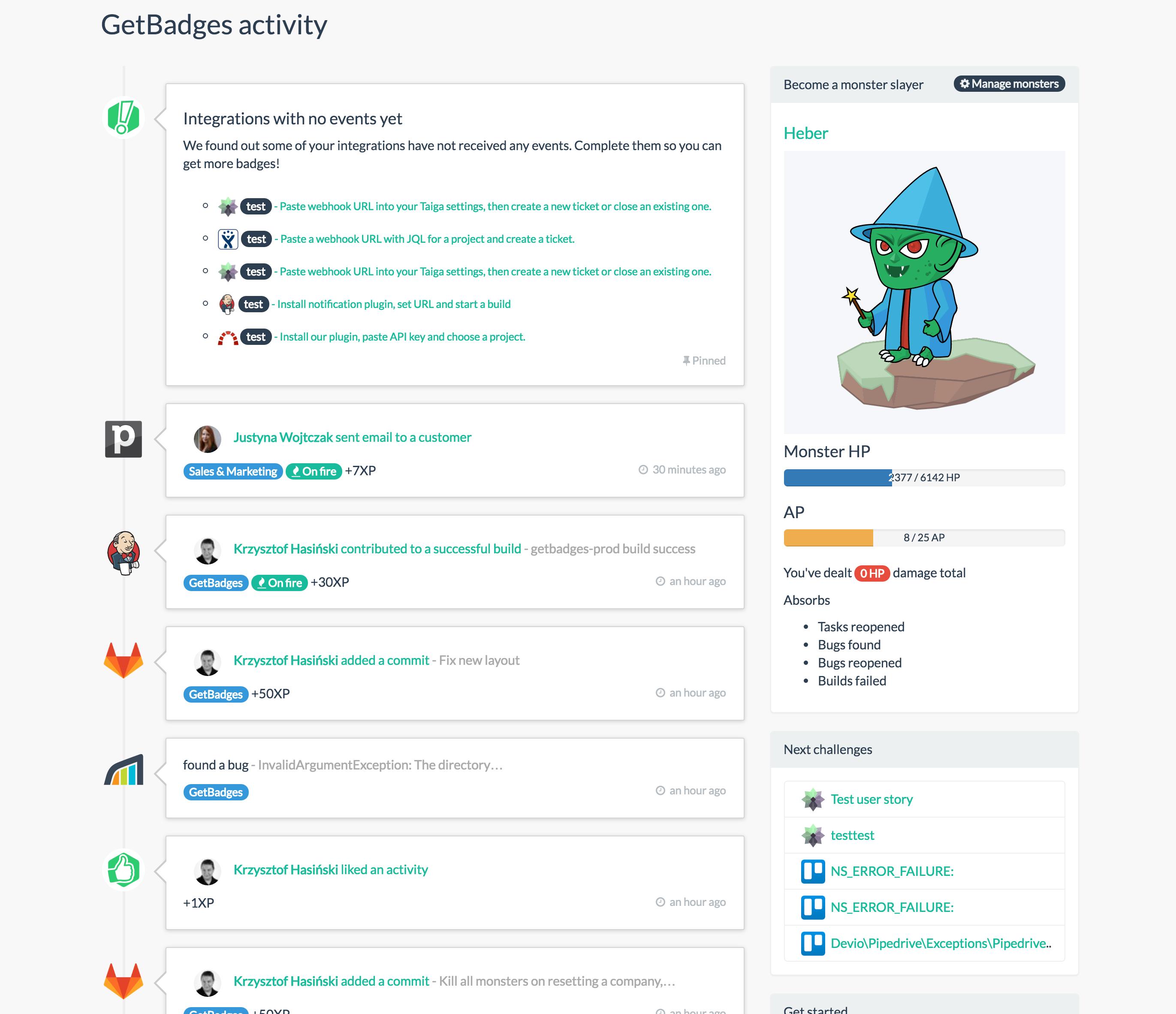 GetBadges Demo - Main activity screen