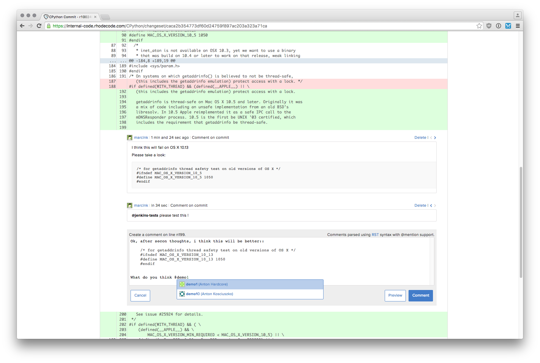 RhodeCode Demo - Unified code review and inline code comments