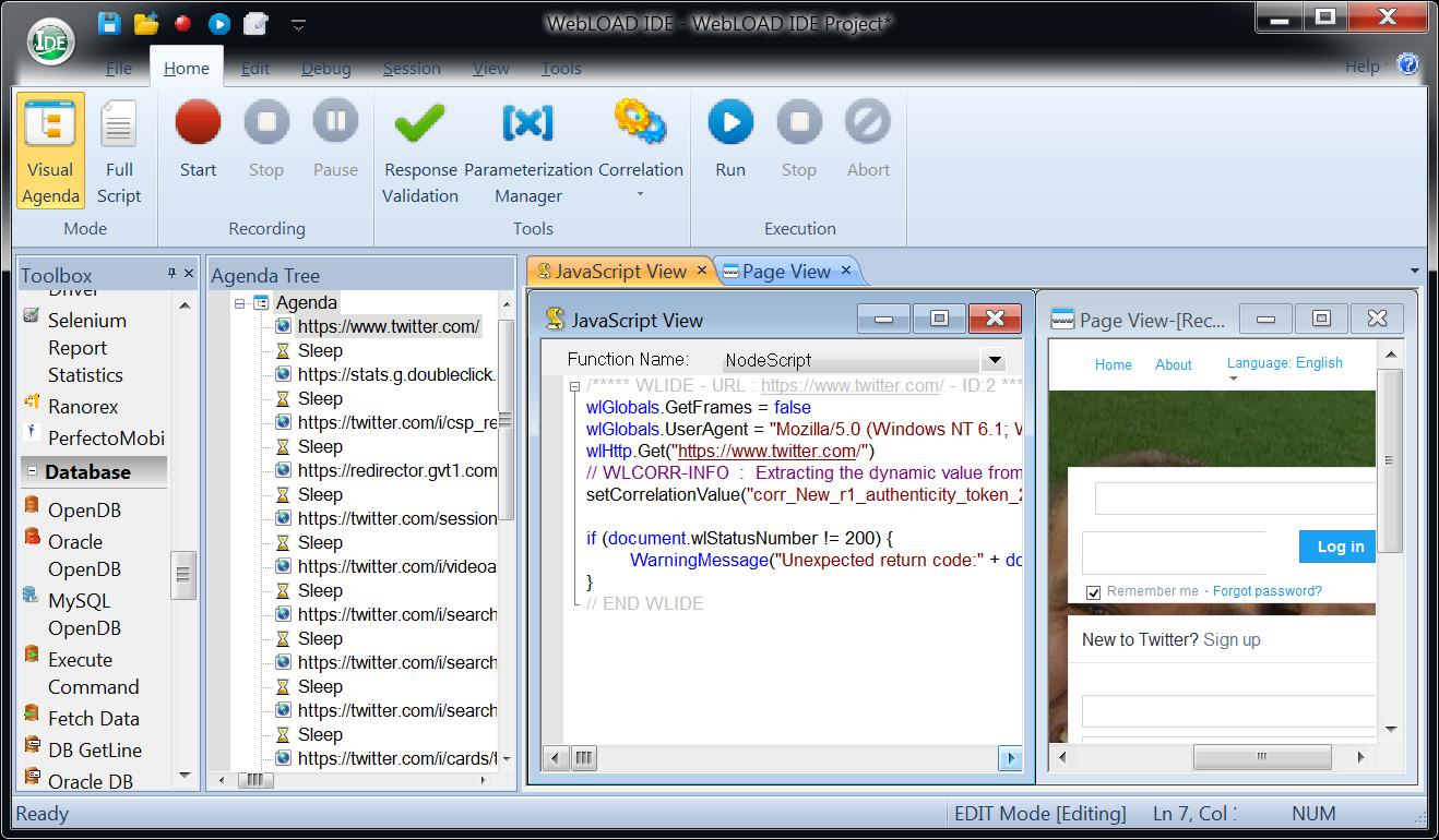 WebLOAD Demo - WebLOAD IDE