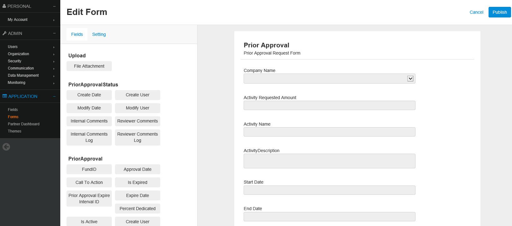 PartnerPortal Demo - Form Editor