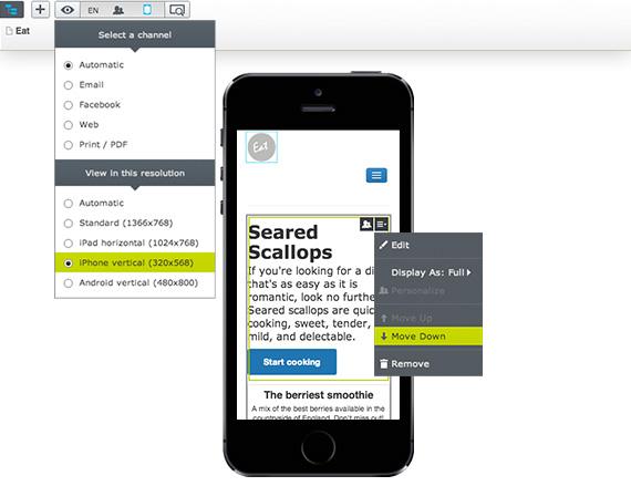 Episerver CMS Demo - Immediately view content as it would appear on all devices.