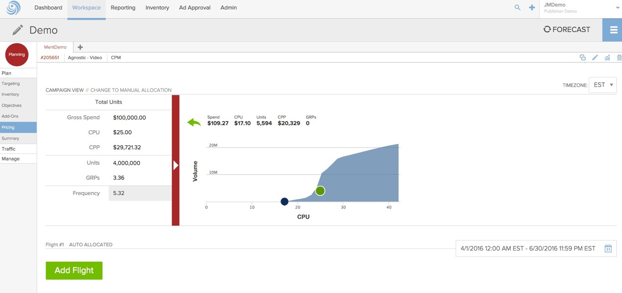 Videology's Converged Advertising Software for Advertisers Demo - Forecasting