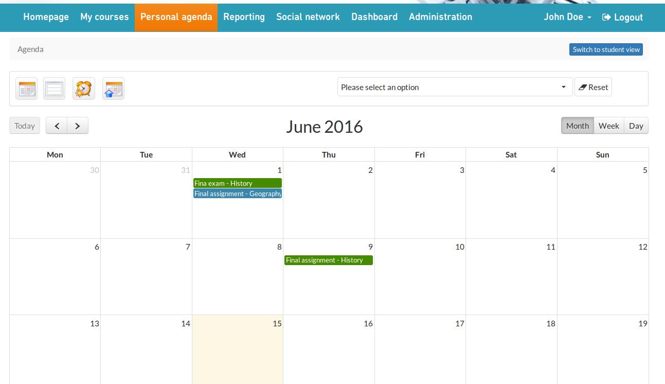 Chamilo LMS Demo - Calendar