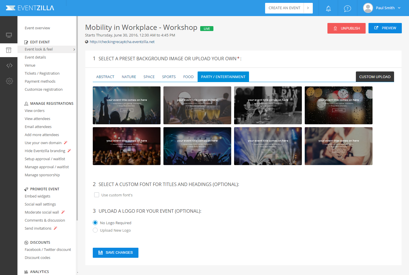 Eventzilla Demo - Personalize your event
