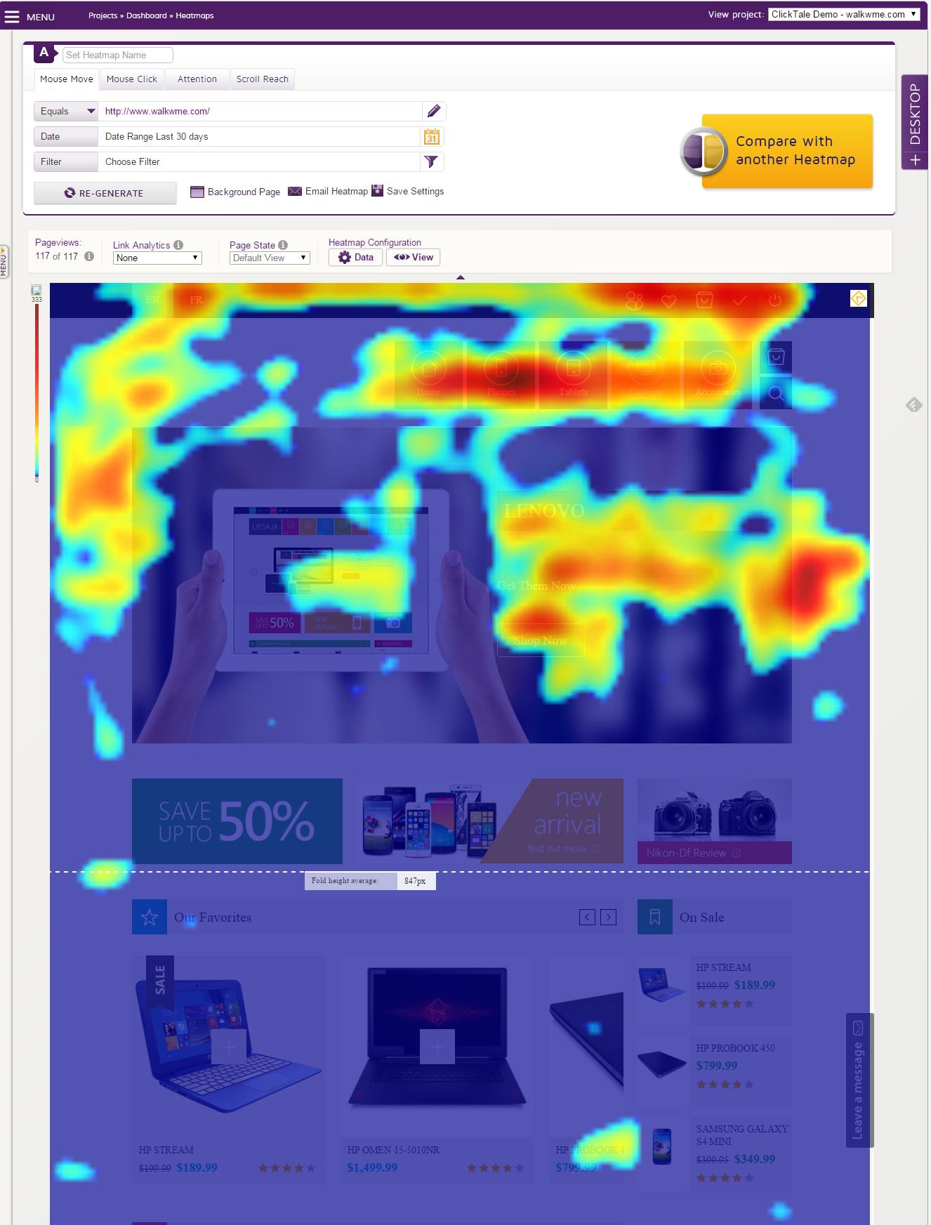Clicktale Demo -  Mouse Move Heatmap