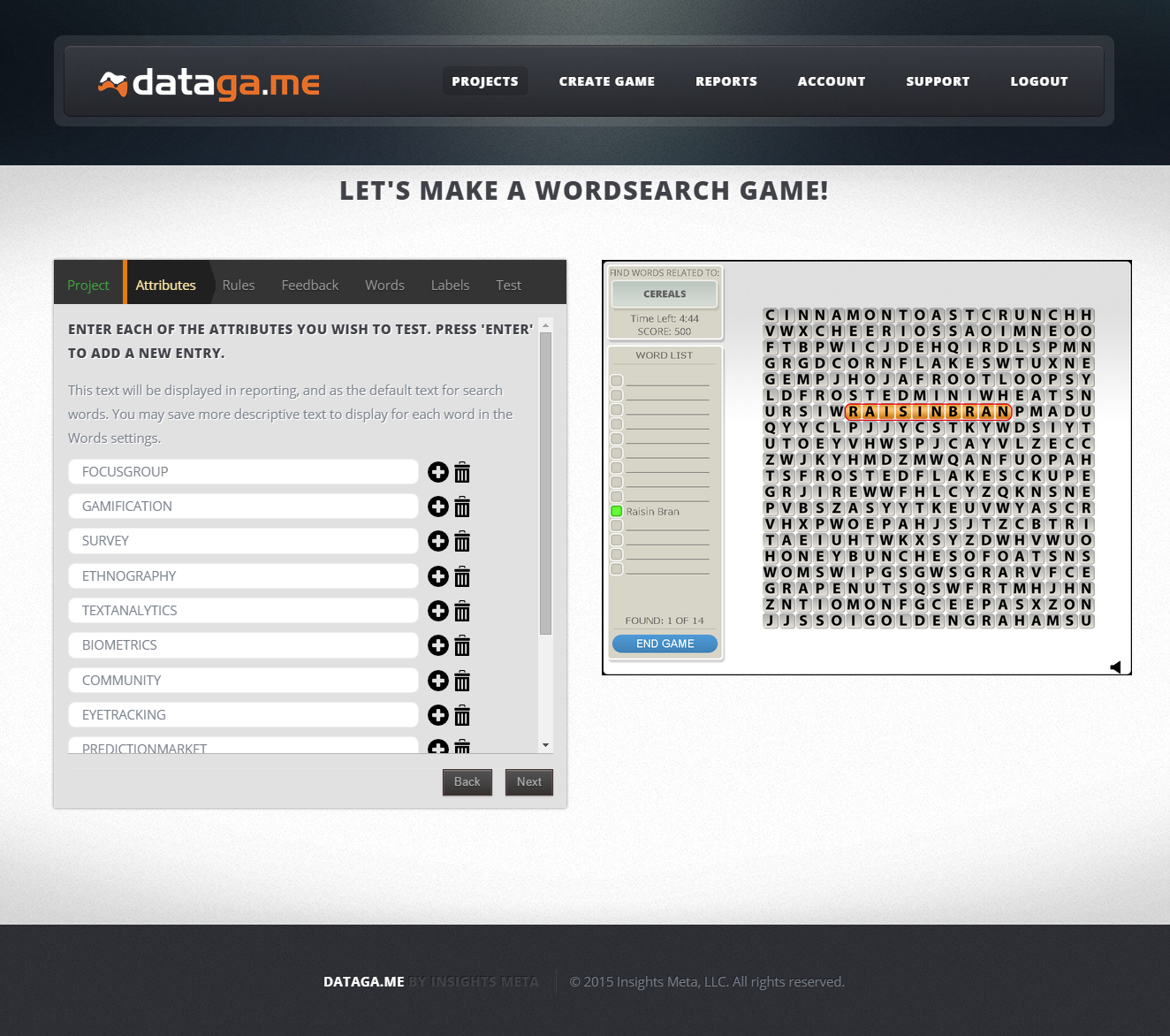 Datagame Demo - WordSearch Configuration Page