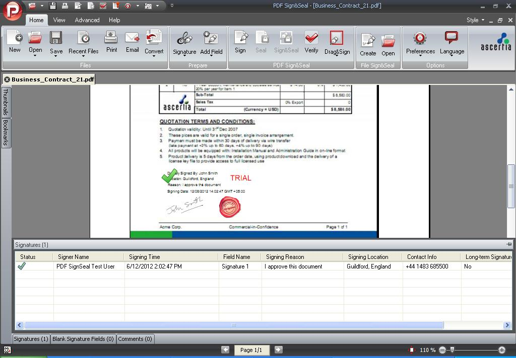PDF Sign&Seal Demo - Signature Pane