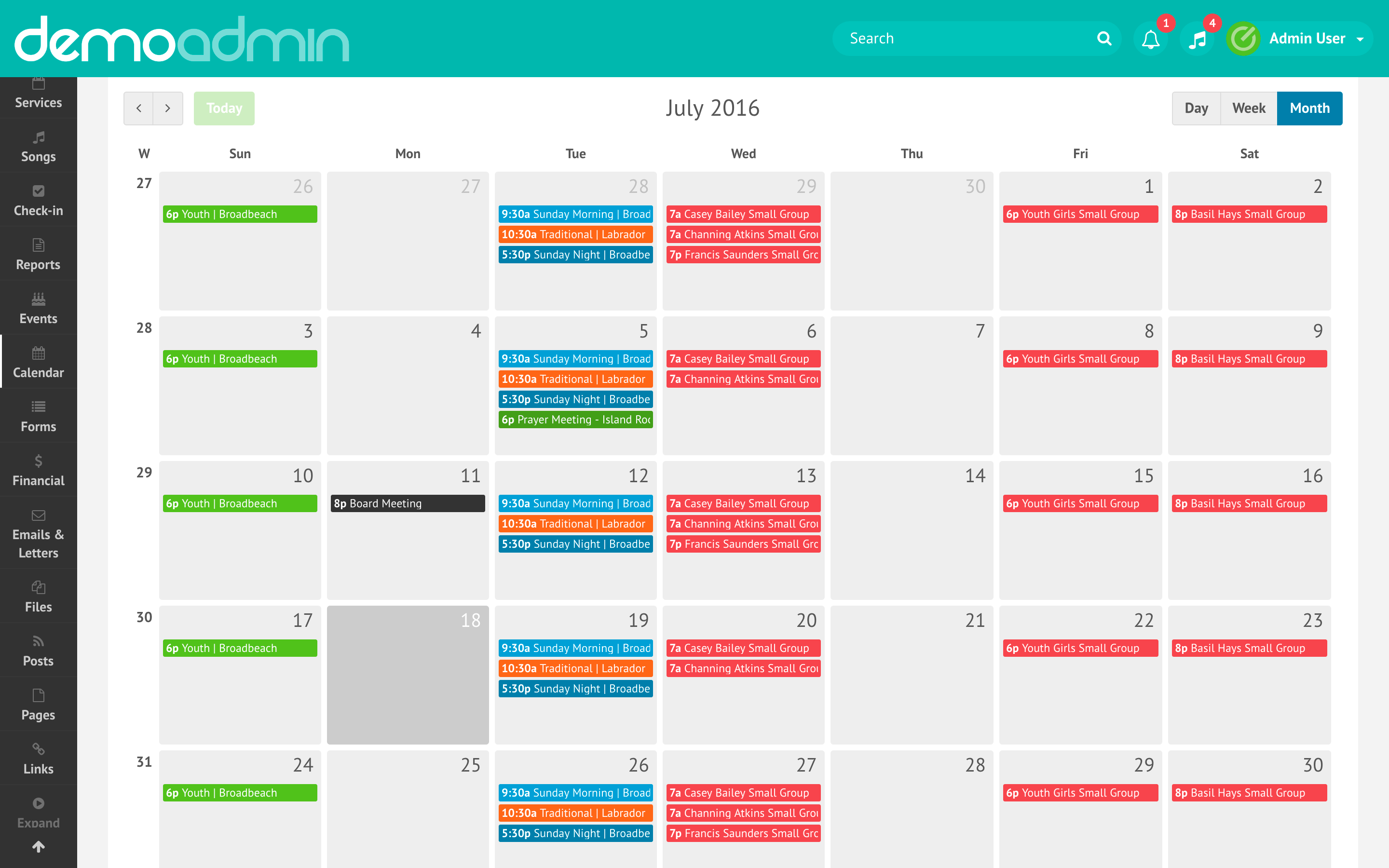 Elvanto Demo - Calendar