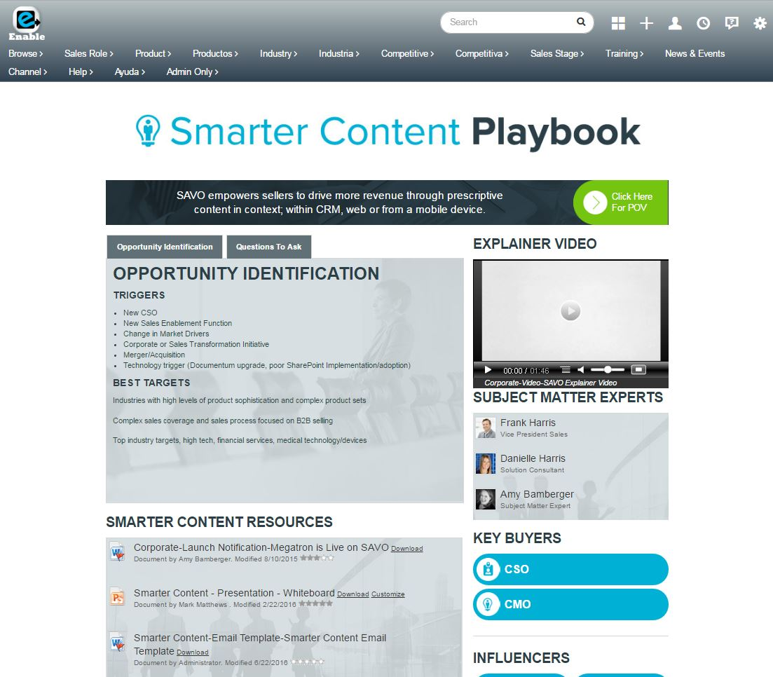 SAVO Sales Enablement Demo - Dynamic Playbook Pages