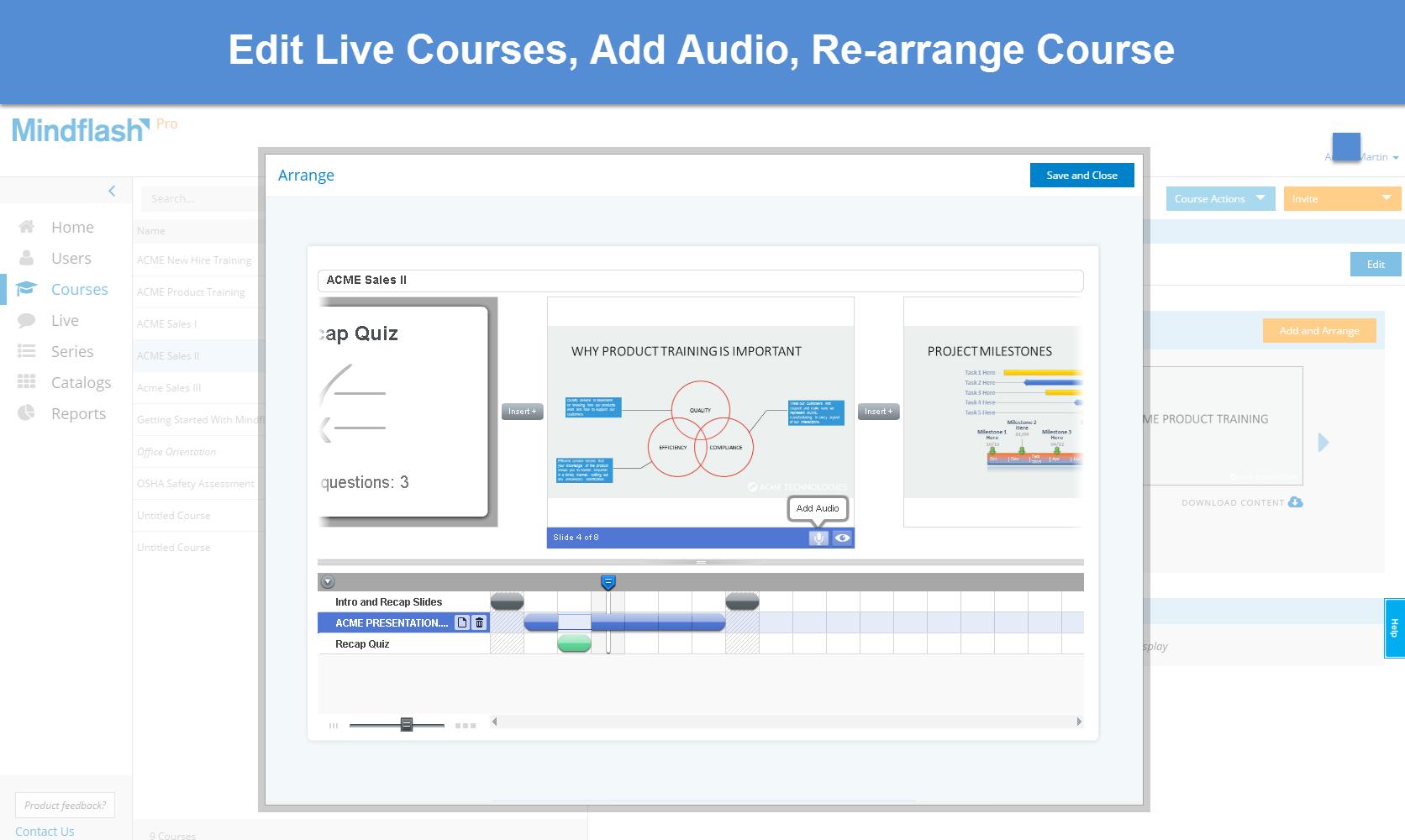 Mindflash Demo - Mindflash Edit Live Courses