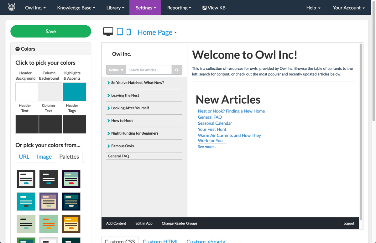 KnowledgeOwl Demo - KnowledgeOwl Theming Tool